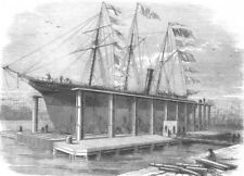LONDON. New Hydraulic Lift at the Victoria Docks, antique print, 1858