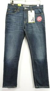 New Signature Levi Mens Modern Fit Skinny Stretch Fade Blue Denim Jeans 33 x 30