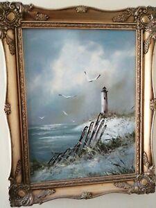 Vintage Old LIGHTHOUSE/SEASCAPE LANDSCAPE, Oil Painting On Canvas framed