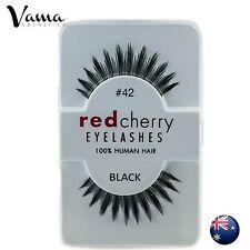 NEW 1 Pair RED CHERRY #42 False Eyelashes Fake Lashes 100% Human Hair Black