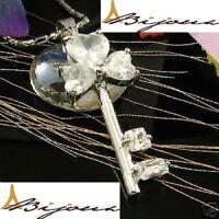 Colgante Diamante Zirconita 3x6mm Chapado de Oro Blanco 18K