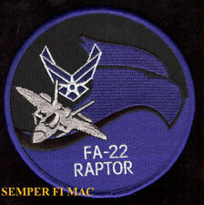 FA-22 RAPTOR F22 PATCH US AIR FORCE STEALTH FIGHTER AFB PILOT CREW WING USAF WOW