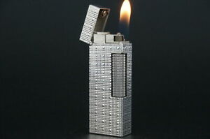 Dunhill Rollagas Lighter  Square Tartan Silver plated Working #M93