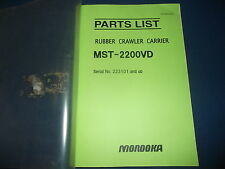 MOROOKA MST-2200VD RUBBER CRAWLER CARRIER PARTS BOOK MANUAL S/N 223101-UP