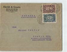 GERMANY 1923 2v ON COVER FROM BERLIN TO ZURICH IN SWITZERLAND