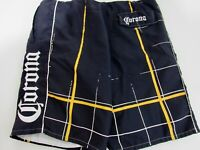 Corona Extra Mens Size M 32 - 34 Blue Yellow Polyester Plaid Lined Swim Trunks