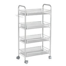 Rolling Trolley Cart 4 Shelves Wheel Beauty Salon Spa Storage Equipment Bathroom