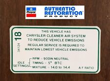 1970 Dodge Plymouth 440 3x2bbl Early Emissions Decal MoPar NEW