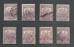 NEWFOUNDLAND SCOTT 118 USED x 8 (A) - 1919 4c VIOLET TRAIL OF THE CARIBOU ISSUES