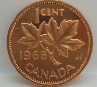 1965 Variiety 2 Small Beads B5 Canada Proof-Like 1 Cent Removed From Mint Set
