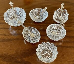Lot of 6 Assorted Vintage Glass Salt Dishes w/ 5 Sterling Silver Spoons UNIQUE!