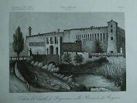 1845 Zuccagni-Orlandini Veduta del Castello di Pagazzano nella Provincia Bergamo