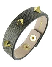 VINCE CAMUTO 'Tour of Duty' Gold-Tone Spike Studded Olive Leather Bracelet $48