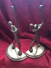 Near Flawless Bronze Mid Century Modern Swinging Golfer Vintage Pair Bookends