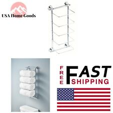 Polished Chrome 5-Bar Towel Rack Wall-Mounted W/ Base Material Home Bathroom