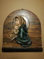 Madonna con Bambino Gesù - Quadro - Icona - Capoletto - Gesso - Statua - Vintage