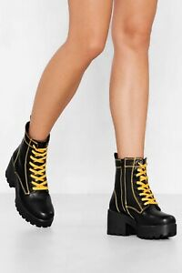 Womens Nasty Gal Faux Leather Chunky Boot US Size 10