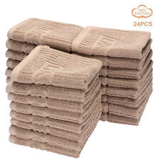 LIVINGbasics® 24pcs High quality 100% cotton washcloths 555gsm Towel set, Brown