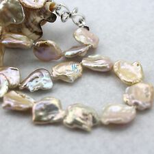 "18.5"" 15-25mm Peach Pink Ding Mussels Nuclear Freshwater Pearl Necklace"