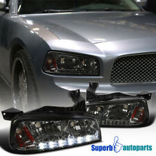 2006-2010 Dodge Charger Replacement Smoke LED DRL Headlights Corner Signal Lamps