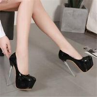 Women High Platform Heels Pumps Fashion Round Toe Sexy Shoes Stilettos Nightclub