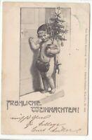 uralte AK Weihnachtskarte Nackedei mit Weihnachtsbäumchen und Tasche 1899 //30