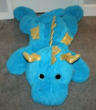 "HugFun 55"" Blue Dragon Plush Stuffed Animal Large Huge Jumbo Gold Wings NWT Rare"