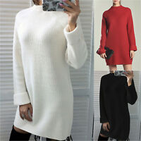 Womens Knitted Long Sweater Dress Ladies Jumper Winter Pullover High Neck Casual