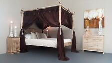 Balinese Four Poster Bed Canopy Curtain Mosquito Net 155cmx205cm Brown Queen