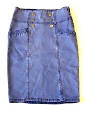 TEMT Women's Denim Pencil Skirt Stretch w/ Side Pockets & Button Design (W 26)