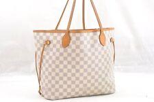 Authentic Louis Vuitton Damier Azur Neverfull MM Tote Bag N51106 LV 56404