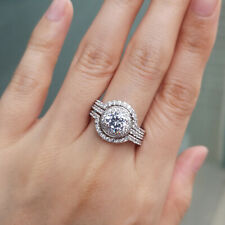 925 Sterling Silver Halo Round Cz 9# Wedding Engagement Ring 3pcs Set For Women