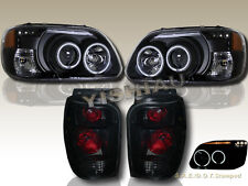 98-01 Ford Explorer Dual CCFL Halo LED Projector Headlights + Tail Lights Black