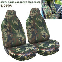 2X Camo Car Van Heavy Duty Front Seat Covers Waterproof Universal Accessories