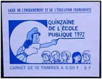 CARNET TIMBRES ÉCOLE PUBLIQUE 1972 MARIANNE JEAN EFFEL CINDERELLA POSTER STAMP