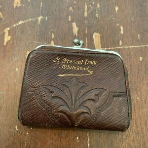 Antique Advertising Leather Coin Purse A Present From from Whitehead