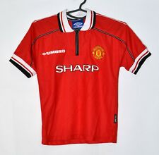 MANCHESTER UNITED 1998/2000 HOME FOOTBALL SHIRT JERSEY UMBRO SIZE M KIDS