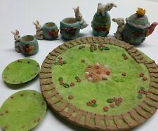 Blue Easter Eggs and Bunnies Miniature Tea Set 10 Pc Made of Polystone Resin