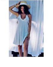 ZARA Grey/ Ecru Lace Trim Strappy, Spaghetti Strap Knit Frilled Dress Size S