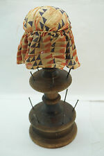 ANTIQUE PIN CUSHION TREEN THREAD STAND HOLDER SEWING PINCUSHION TURNED WOOD 9in