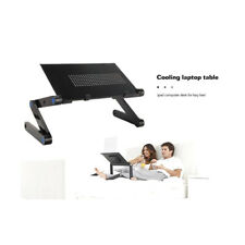 Adjustable Aluminum Laptop Desk Ergonomic TV Bed PC Table Stand With Cooling Fan