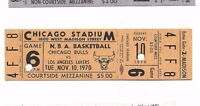 1970 11/10 basketball full ticket Chicago Bulls v Los Angeles Lakers Chi Stadium