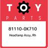 81110-0K710 Toyota Headlamp assy, rh 811100K710, New Genuine OEM Part
