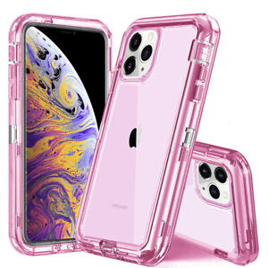 iPhone Clear Case Crystal Cover Heavy Duty Shockproof Hybrid + Belt Clip Holster