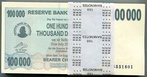 Zimbabwe 100 000 Dollars 2006 Original 50 Uncirculated Banknote 1/2 Bundle P48