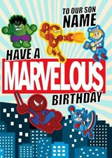 Personalised Iron Man/Hulk/Captain America/Spiderman/Thor/Avengers Birthday Card