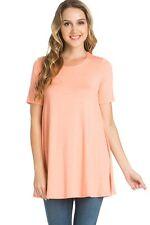 USA Women Long Tunic Length Dress Top Short Sleeve Scoop Neck Shirt S M L XL
