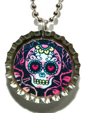 DAY OF THE DEAD SUGAR SKULL BOTTLE CAP NECKLACE (CAP026a)