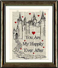 Old Book page Art Print - Valentines Fairytale Castle Happily Ever After Quote