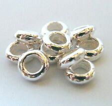 150pcs 2x6mm Metal Alloy Smooth Rondelle Spacers - Bright Silver